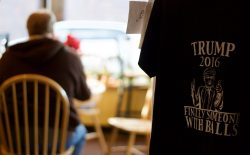 Dec. 3. At Brother's Coffee, owner Judi Sipe said a railroad worker came in on Nov. 9th grateful that he might work more hours during a Trump administration. Sipe also supports Trump, hence the T-shirts she sells out of her shop. (Andrew Graham/WyoFile)