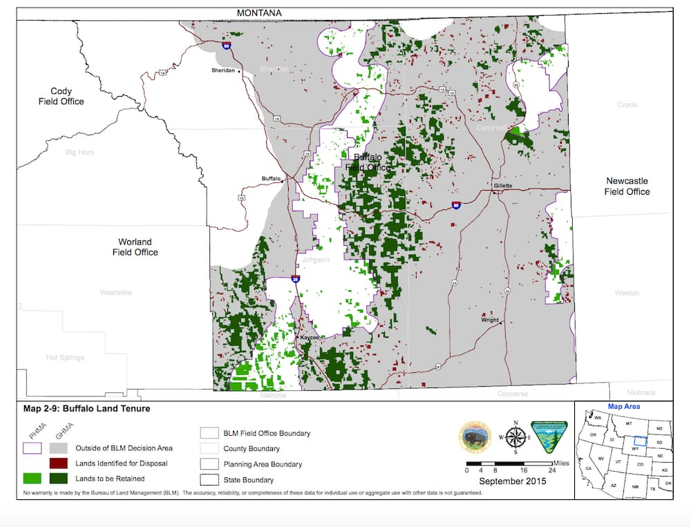 This map is an updated inventory of public lands in the Buffalo region that are possibly suitable for disposal — perhaps exchange or sale — according to a recent update of BLM real estate holdings. Critics of Rep. Jason Chaffetz's widespread sale bill say it is based on a 20-year-old list that didn't take into account numerous environmental and social factors (BLM)