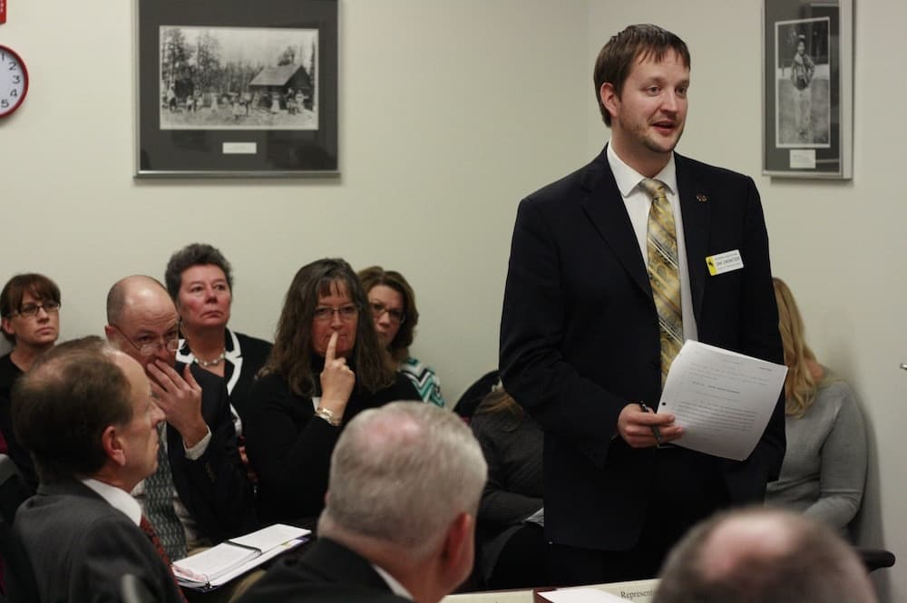 Rep. Daniel Zwonitzer testifies before the House Corporations, Elections & Political Subdivisions Committee, of which he is the chairman, on Jan. 26. (Andrew Graham/WyoFile)