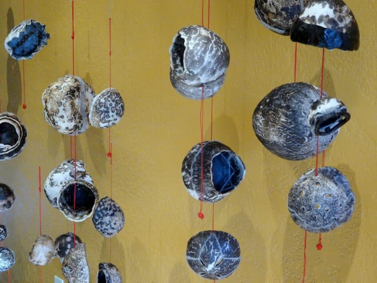 Suspended obvara-fired ceramics from the Dearly Beloved series. Dimensions variable.