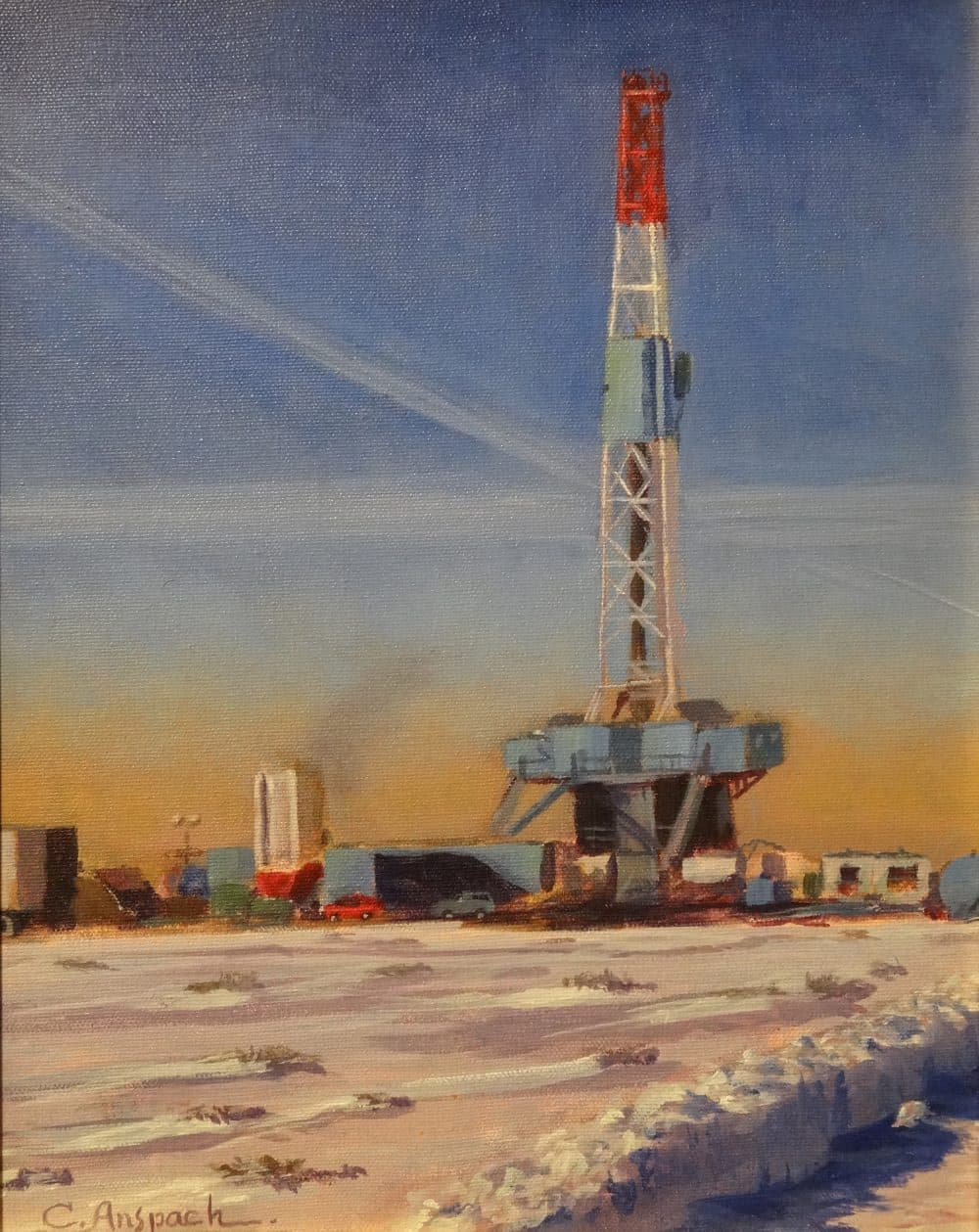 Patriot 31, an industrial landscape from the Pinedale Anticline. Oil on canvas, 14 x 11 inches.