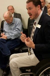 Rep. Scott Clem (R, HD-31, Gillette) testified in favor of a bill to allow guns in government meetings. Being in a wheelchair, he said, made him feel especially vulnerable without the ability to carry a gun. (Andrew Graham/WyoFile)