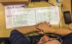 """One-person broadcast crews mean the """"voice"""" is also the record keeper. Beers and his colleagues use information gleaned from their scorebooks to give listeners a sense of the game's context and texture.  (Matthew Copeland/WyoFile)"""