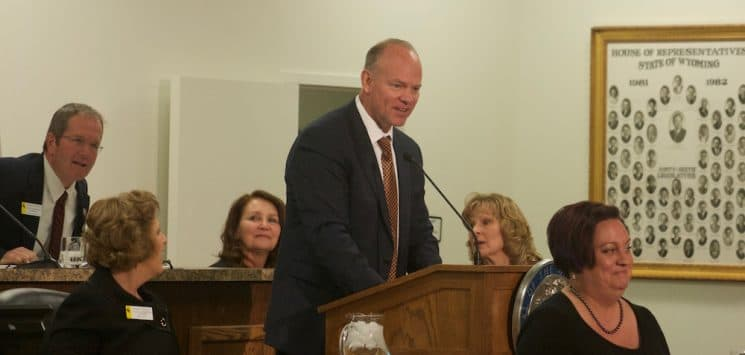 Gov. Matt Mead begins his 2017 State of the State speech to the Legislature on Jan. 11. At the time he told lawmakers it was not necessary to make further cuts. In a Feb. 10 interview with WyoFile, the governor said he was worried by what he'd seen in the supplemental budget bill thus far.  (Andrew Graham/WyoFile)
