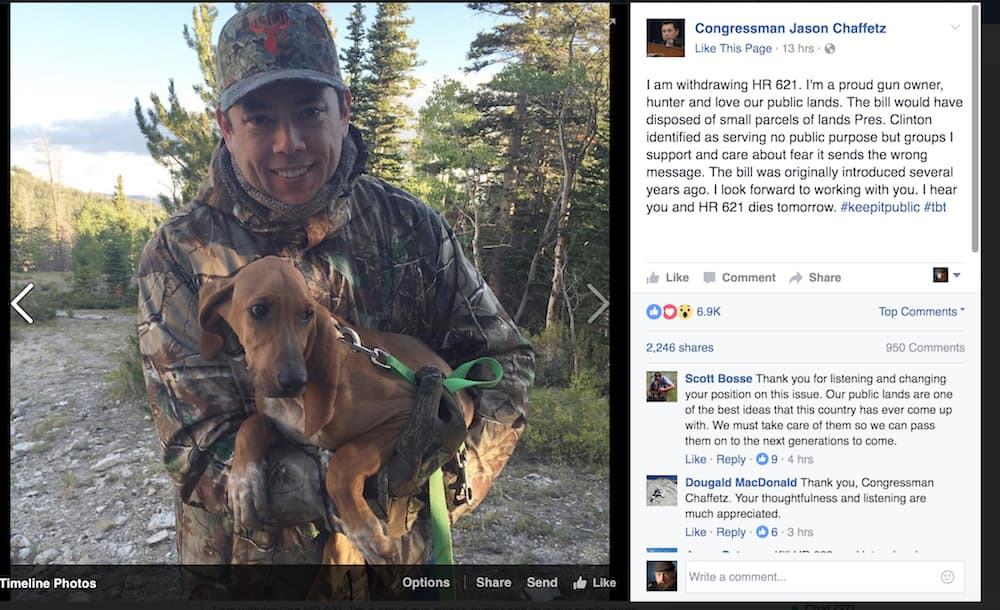 U.S. Rep. Jason Chaffetz used a Facebook post to announce that he was withdrawing a controversial proposal to sell almost 700,000 BLM acres in Wyoming. (Jason Chaffetz/Facebook)