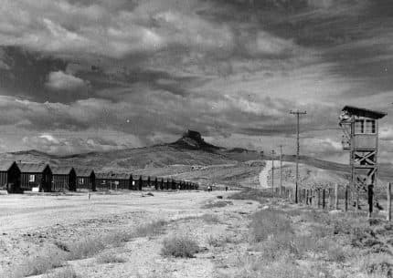 A historic photo from the Heart Mountain Interpretive Center shows a World War II relocation camp in Wyoming between Cody and Powell. More than 14,000 Japanese-Americans were held at Heart Mountain, one of 10 such camps nationwide that housed more than 110,000 people.