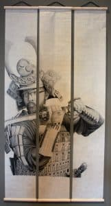 "Jacob Harkin's ""Self Portrait in Samurai Armor,"" graphite on three rice paper panels, received the Lisa Lewis Dubois Student Exhibition Award. (Molly Bredehoft)"