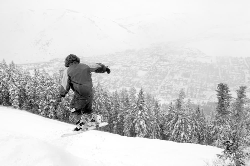 A Snowboarder On Snow King Mountain Takes Jump Onto Run Above Jackson Angus M Thuermer Jr Wyofile